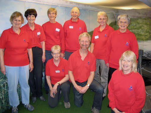 A group of our volunteers wearing red shirts